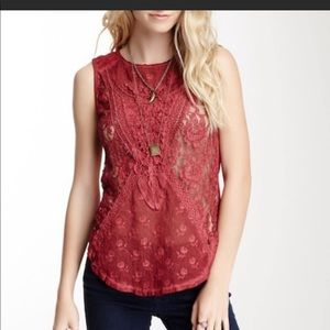Free People not so sweet lace tank top